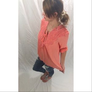 Tops - Sunset Crochet Shirt In Coral
